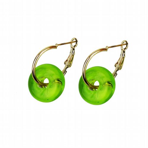 Murano Glass Earrings - Green & Gold